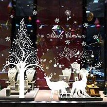 RUOXI Weihnachten Elch Wandaufkleber Fenster Glas