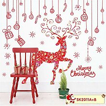 RUOXI Weihnachten Red Elk Wandaufkleber