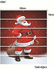 RUOXI Weihnachtstreppenaufkleber Wasserdichte