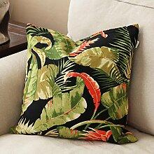 Rural tropical plant printing sofa pillow,pillowcase pillowcase-B 55x55cm(22x22inch)VersionA