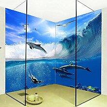 Rureng 3D Stereo Sea Wave Dolphin Fototapete Pvc
