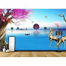 Rureng 3D Wallpaper Geprägte Wald Elch Tapete