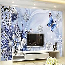 Rureng 3D Wandbild Lila Blume Schmetterling Tapete