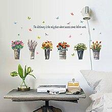 Rureng Einfache Blumen Topfpflanzen Selbstklebend