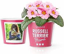 Russell Terrier Mama Geschenk Blumentopf (ø16cm) | Geschenkidee für Hundebesitzerin mit Rahmen für zwei Fotos (10x15cm)