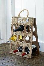Rustic Rattan Vino Bottle Board/Rattan Weinregal