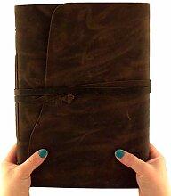 Rustic Ridge Leather Fotoalbum aus echtem Leder,