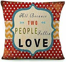 Rustikal Buchstaben bedruckt dekorativer Überwurf-Kissenbezug Kissen Fall Bezug für Schlafcouch, 18von 45,7cm Multi15
