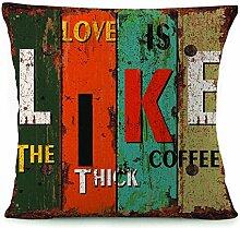 Rustikal Buchstaben bedruckt dekorativer Überwurf-Kissenbezug Kissen Fall Bezug für Schlafcouch, 18von 45,7cm Multi19