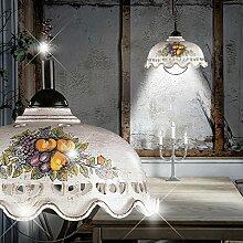 Rustikal Hänge Leuchte Zug Landhaus/ Weiß/ Beige/ Keramik/ Pendel Lampe Porzellan Hängelampe Hängeleuchte Pendellampe Pendelleuchte