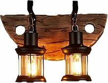 Rustikal Holz Wandleuchte, Vintage Wandlampe Innen
