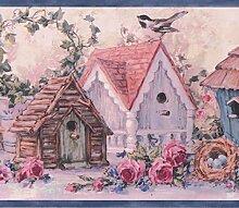 Rustikal Pink Blau Blumen Vogelhäuser Vintage
