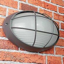 Rustikale Außen-Wandleuchte Lampe in anthrazit / für Wand oder Decken Montage / E27 bis 60W IP44 / Feuchtraum Leuchte Außenleuchte Beleuchtung Garten