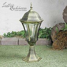 Rustikale Außen Wegleuchte Sockellampe in schwarz-gold E27 bis zu 60W aus Aludruckguss und Glas Sockelleuchten Wegelampen Außenleuchte Außenleuchte Hof Garten Auffahr
