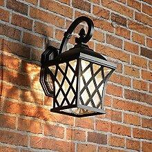 Rustikale Außenlampe Wandleuchte in grau abwärts Laternenform E27-Fassung Wandlampe Außenleuchte