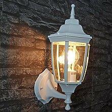 Rustikale Außenleuchte Wand Lyon nostalgie in weiß grau/E27 230V IP44 wetterfest/Wandlampe Außenleuchte Hof Garten Terrasse