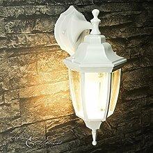Rustikale Außenwandleuchte Lyon in weiß-grau hängend/IP44 230V E27/nostalgische Laterne Außenleuchte Wandlampe für Garten Treppe Hof