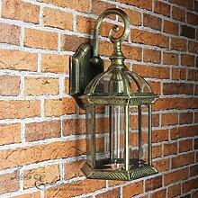 Rustikale Aussenwandleuchte Warschau in schwarz-gold E27 bis 60W 230V aus Aludruckguss & Glas Aussenleuchte Wand für Aussen Hof Garten Wandlampe Hoflampe Gartenleuchte