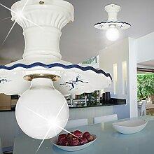 Rustikale Deckenleuchte Landhaus aus Keramik weiß