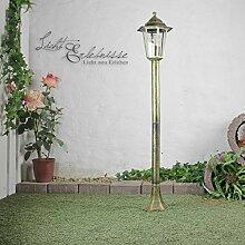 Rustikale Gartenlaterne Wegleuchte in antik gold 60W 230V E27 bis 60W IP44 Aussenleuchte Aussenlampe Weglampe Laterne Stehleuchte Stehlampe