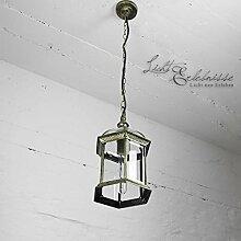Rustikale Hängeleuchte Außenleuchte in antik gold Glas Aludruckguss mit Kettenpendel E27 230V Außenlampe Pendellampe Pendelleuchte Hängelampe Decke Hof Garten Beleuchtung
