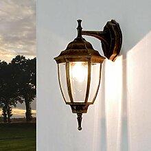 Rustikale Hoflampe antik Gold IP43 Aluminium Glas