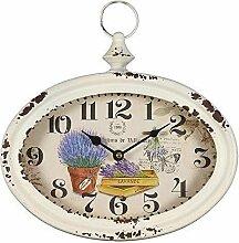 Rustikale Landhaus Wanduhr im Metallgehäuse mit Lavendel, Garten Uhr