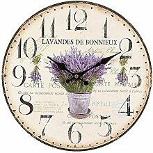 Rustikale Lavendel Wanduhr im Landhausstil, Romantische Retro Uhr
