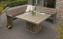 Rustikale Sitzgruppe Toulouse Kiefernholz Loftbank + Eckbank + Tisch + Auflage