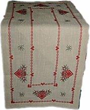 rustikale Tischdecke 40x160 cm eckig Weihnachten natur beige Stickerei rot grün KREUZSTICH rustikaler LANDHAUSstil Tischläufer Advent (Tischläufer 40x160 cm)