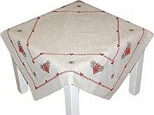 rustikale Tischdecke 85x85 cm eckig Weihnachten natur beige Stickerei rot grün KREUZSTICH rustikaler LANDHAUSstil Mitteldecke Advent (Mitteldecke 85x85 cm)