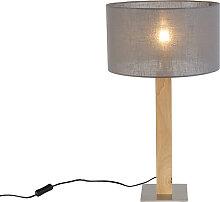 Rustikale Tischlampe Holz mit dunkelgrauem Schirm