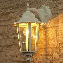 Rustikale Wandlampe Außen Weiß Laterne Glas
