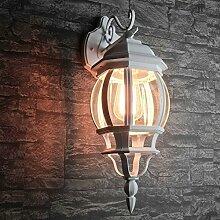 Rustikale Wandleuchte für Außen in weiß E27 230V bis 60 Watt Außenleuchte Außenlampe Wandlampe Beleuchtung Hof Garten Terrasse Lich