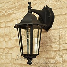 Rustikale Wandleuchte in schwarz inkl. 1x 12W E27 LED 230V Wandlampe aus Aluminium & Glas für Garten/Terrasse Garten Weg Terrasse Lampen Leuchte außen Beleuchtung