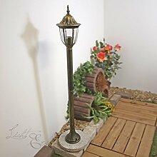 Rustikale Wegleuchte Milano in antik gold/1m hoch/IP44 E27 bis 60W 230V/Wegelampe Beleuchtung Außenleuchte