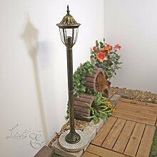 Rustikale Wegleuchte Milano in antik gold / 1m hoch / IP44 E27 bis 60W 230V / Wegelampe Beleuchtung Außenleuchte