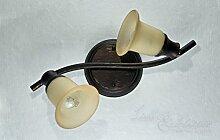 Rustikaler Deckenspot Strahler 2x E14 Fassung Glas