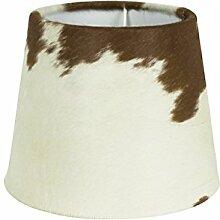 Rustikaler Kuhfell- Lampenschirm in braun/weiß,