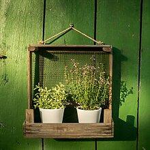 Rustikales Gartenregal aus Zwiebelsieb ++ Ideal für ✿✿-Töpfe ++ für Drinnen und Draußen (Schmale Version)