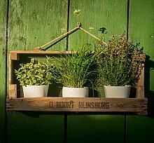 Rustikales Gartenregal aus Zwiebelsieb ++ Ideal für ✿✿-Töpfe ++ für Drinnen und Draußen (Breite Version)
