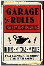 Rustikales Metallschild, Motiv: Post Garage Rules
