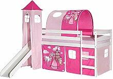 Rutschbett BENNY Hochbett Kinderbett Spielbett Holzbett mit Rutsche, Vorhang, Tunnel und Turm Prinzessin Motiv rosa pink, Kiefer massiv weiß lackiert, 90 x 200 cm