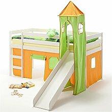 Rutschbett Hochbett Spielbett Bett BENNY Kiefer massiv weiss mit Turm+Vorhang grün/orange 90 x 200 cm (B x L) mit Rutsche