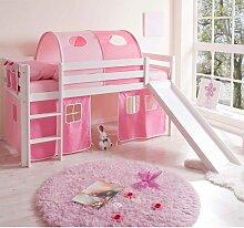 Rutschbett in Weiß Rosa mit Vorhang