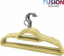 Rutschfeste Luxus beflockte Samt Kleiderbügel/Hosenbügel Kleidung zum Aufhängen, beige, 100 Stück