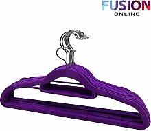 Rutschfeste Luxus beflockte Samt Kleiderbügel/Hosenbügel Kleidung zum Aufhängen, violett, Pack OF 80