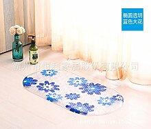 Rutschfeste Matte Badezimmer Dusche Badewanne massage rutschfeste Füße WC mit Matten , Ellipse, 38cm*69cm transparent blau
