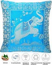 Ruwado Blau Seide Kissenbezug mit Elefanten Design