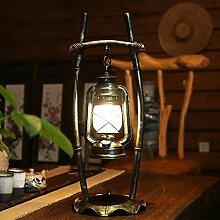 RXL Vintage Retro Schlafzimmerlampe personifizierte Studie chinesische antike Bar, schmiedeeiserne Laterne Lampe Kerosin kreativ